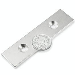 CS-Q-80-20-04-N Parallelepipedo magnetico 80 x 20 x 4 mm, tiene ca. 18 kg, con foro svasato, N35, nichelato