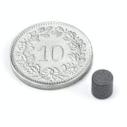 S-05-05-T Disque magnétique Ø 5 mm, hauteur 5 mm, néodyme, N45, revêtu de téflon