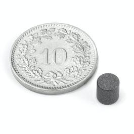 S-05-05-T Schijfmagneet Ø 5 mm, hoogte 5 mm, neodymium, N45, met Teflon coating