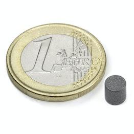 S-05-05-T Disque magnétique Ø 5 mm, hauteur 5 mm, tient env. 940 g, néodyme, N45, revêtu de téflon