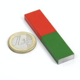 Staafmagneet rechthoekig kort 60 x 15 mm, aus AlNiCo5, rood-groen gemoffeld