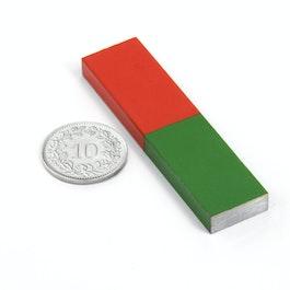 Barra magnética corta 60 x 15 mm, de AlNiCo5, pintado de rojo y verde