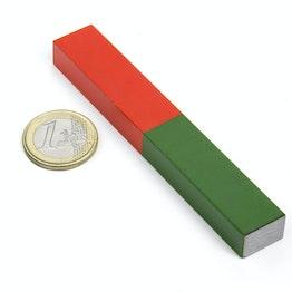 Staafmagneet rechthoekig lang 100 x 15 mm, van AlNiCo5, rood-groen gemoffeld