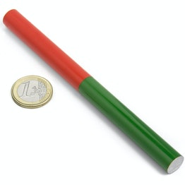 Barra cilindrica 150 x 12 mm, magnete per la scuola in AlNiCo5, smaltata in rosso e verde