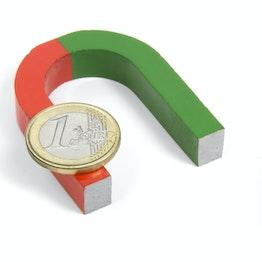 Ferro di cavallo magnetico piccolo 50 x 40 mm, in AlNiCo5, smaltata in rosso e verde
