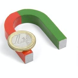 Hufeisenmagnet klein 50 x 40 mm, aus AlNiCo5, rot-grün lackiert