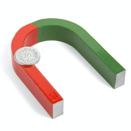 Horseshoe magnet medium 80 x 60 mm, AlNiCo5, red-green coated