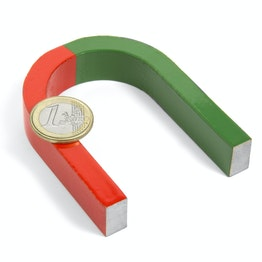Hufeisenmagnet mittel 80 x 60 mm, aus AlNiCo5, rot-grün lackiert
