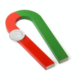 Herradura magnética estrechada 100 x 48 mm, de AlNiCo5, pintado de rojo y verde