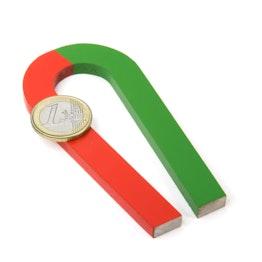 Hoefijzermagneet taps 100 x 48 mm, van AlNiCo5, rood-groen gemoffeld