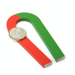 Horseshoe magnet tapered 100 x 48 mm, AlNiCo5, red-green coated