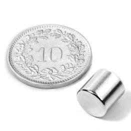 S-08-08-N Disque magnétique Ø 8 mm, hauteur 8 mm, tient env. 2.5 kg, néodyme, N45, nickelé