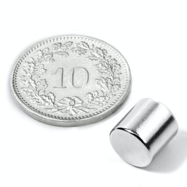 S-08-08-N Disc magnet Ø 8 mm, height 8 mm, neodymium, N45, nickel-plated