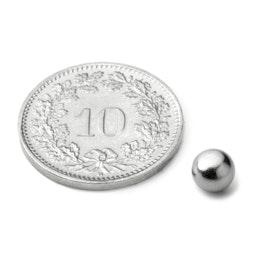 K-05-C Esfera magnética Ø 5 mm, sujeta aprox. 360 g, neodimio, N42, cromado