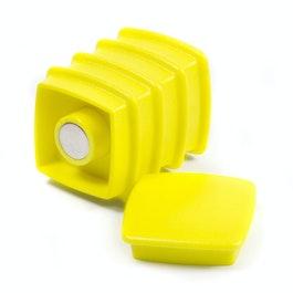 Boston Xtra vierkant set met 5 kantoormagneten neodymium, vierkant, geel