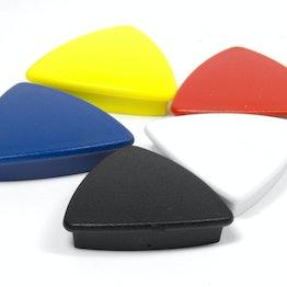 Aimants de bureau 'Boston Xtra' triangulaires tient env. 1,5 kg, aimants néodyme pour tableau d'affichage, lot de 5, dans différentes couleurs