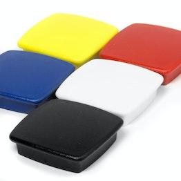 """Bordmagneten """"Boston Xtra"""" vierkant houdt ca. 1,5 kg, magneetbord magneten neodymium, set van 5, in verschillende kleuren"""