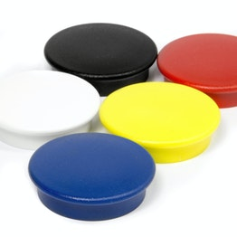 Office magnets 'Boston Xtra' round noticeboard magnets neodymium, Ø 32,6 mm, set of 5, in different colours