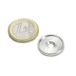 MSD-17 Disco metallico con bordo e foro svasato M3, diametro interno 17 mm, come controparte per i magneti, non è un magnete!