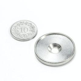 MSD-26 Metallscheibe mit Rand und Senkbohrung M4, Innendurchmesser 26 mm, als Gegenstück zu Magneten, kein Magnet!