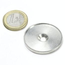 MSD-33 Metallscheibe mit Rand und Senkbohrung M4, Innendurchmesser 33 mm, als Gegenstück zu Magneten, kein Magnet!