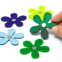 Decorative magnets 'Winter Flowers' hand-crafted flower magnets in winter colours, made of acrylic glass, set of 5