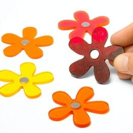 """Koelkastmagneten """"Summer Flowers"""" houdt ca. 1,3 kg, met de hand gemaakte bloemenmagneten in zomerkleuren, van plexiglas, set van 5"""