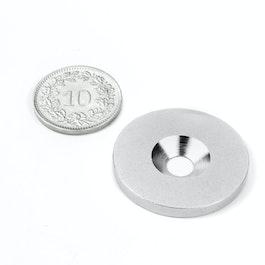 MD-27 Metalen schijfje met verzonken gat Ø 27 mm, als tegenstuk voor magneten, geen magneet!