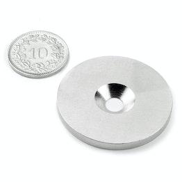 MD-34 Disco metallico con foro svasato Ø 34 mm, come controparte per i magneti, non è un magnete!