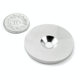 MD-34 Metal disc with counterbore Ø 34 mm, as a counterpart to magnets, not a magnet!