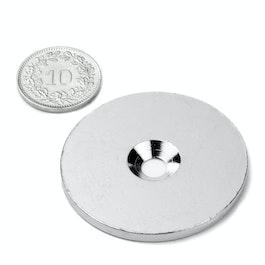 MD-42 Metallscheibe mit Senkbohrung Ø 42 mm, als Gegenstück zu Magneten, kein Magnet!