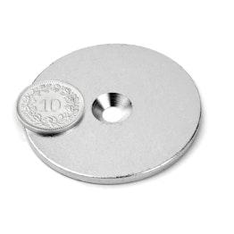 MD-50 Disco metallico con foro svasato Ø 50 mm, come controparte per i magneti, non è un magnete!