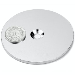 MD-65 Metallscheibe mit Senkbohrung Ø 65 mm, als Gegenstück zu Magneten, kein Magnet!
