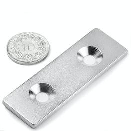 MC-60-20-03 Plaquitas metálicas con taladro avellanado 60x20x3 mm, como contrapieza para imanes, ¡no es un imán!