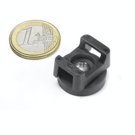 CMN-22 rubber coated pot magnet, for cable mounting, Ø 22 mm