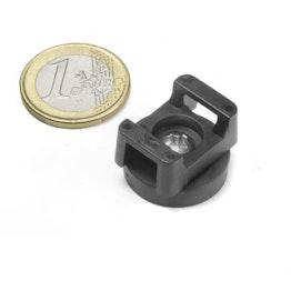 CMN-22 magnetische kabelhouder, potmagneet met rubber coating voor kabelbinders, Ø 22 mm