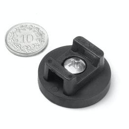 CMN-31 magnetische kabelhouder, potmagneet met rubber coating voor kabelbinders, Ø 31 mm