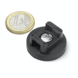 CMN-31 rubber coated pot magnet, for cable mounting, Ø 31 mm