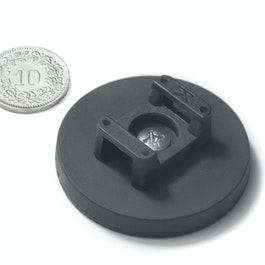 CMN-43 rubber coated pot magnet, for cable mounting, Ø 43 mm