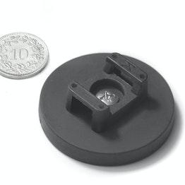 CMN-43 magnetische kabelhouder, potmagneet met rubber coating voor kabelbinders, Ø 43 mm