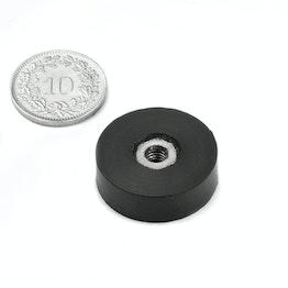 ITNG-16 imán en recipiente de goma con rosca interior Ø 20 mm, sujeta aprox. 3.2 kg, rosca M4