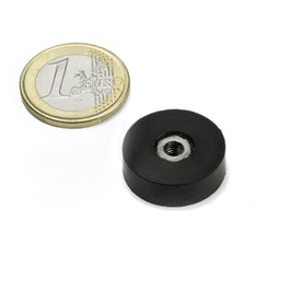 ITNG-16 rubber coated pot magnet, with internal thread M4, Ø 20 mm