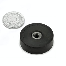 ITNG-25 rubber-coated pot magnet with internal thread Ø 29 mm, thread M5