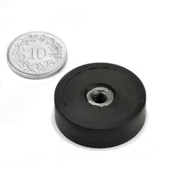 ITNG-25 magnete gommato con base in acciaio con filettatura interna Ø 29 mm, filettatura M5