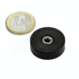 ITNG-25 rubber coated pot magnet, with internal thread M5, Ø 29 mm