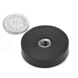 ITNG-32 potmagneet met rubber coating met inwendig schroefdraad Ø 36 mm, M6 schroefdraad