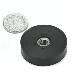 ITNG-32 aimant en pot caoutchouté, avec filetage intérieur M6, Ø 36 mm