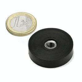 ITNG-32 rubber coated pot magnet, with internal thread M6, Ø 36 mm
