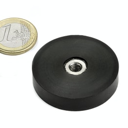 ITNG-40 rubber-coated pot magnet with internal thread Ø 45 mm, thread M6