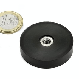 ITNG-40 rubber coated pot magnet, with internal thread M6, Ø 45 mm